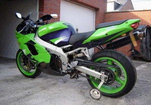 Kawasaki motorbike with stabilisers